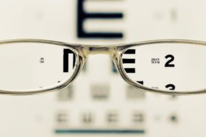 Glasses in Front of Eye Chart