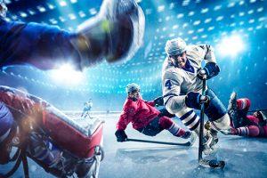 hockey player shooting on goal